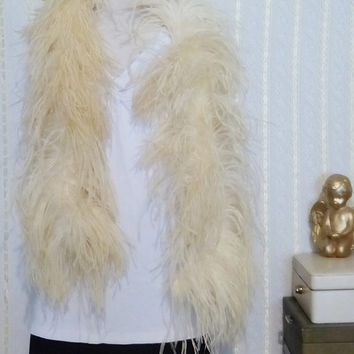 Vintage Antique Cream Colored Ostrich Feather Boa 1930s 53 Inches Long