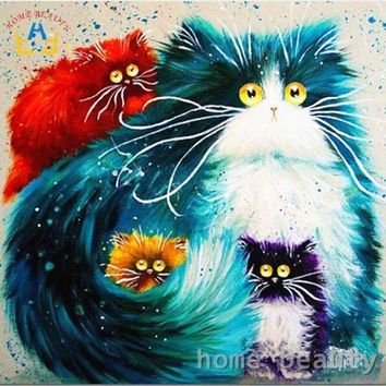 CREYYN6 Diy oil painting by numbers abstract acrylic paint animal color cats  decorative canvas painting coloring by number drawing Y080