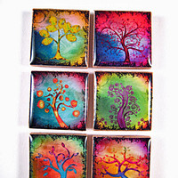 Magnets Fridge Magnet Colorful Abstract Tree Resin Magnets in Tin (M15)