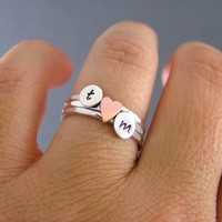 Custom Initial Sweetheart Stack Rings, Sterling Silver Rings, Personalized Rings, Set Of Three