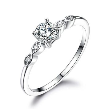 Silver 925 Jewelry Luxury Bridal Cubic Zirconia Rings For Women