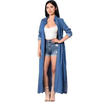 Long denim trench coat for women 2017 casual thick loose women trench new autumn long sleeve o neck blue female coat