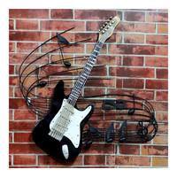 America Vintage Instrument Iron Wall Hanging Decoration   guitar