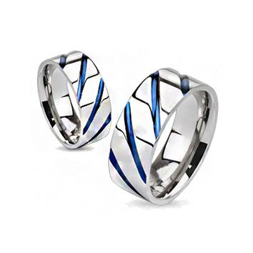 AzureSky - Blue IP diagonal accented silver solid titanium couples ring