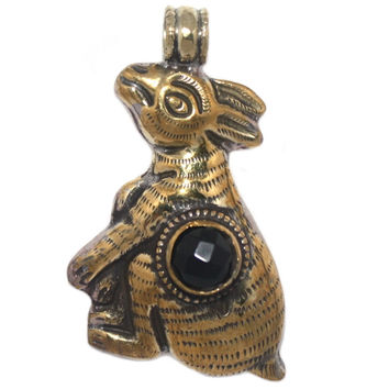 Large brass onyx rabbit pendant