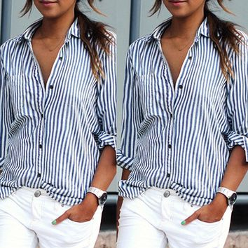 Ready stock Women Striped Long Sleeve Shirt Loose Blusas 6903 Puls Size Fashion