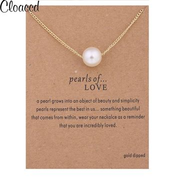 Cloaccd Simple Fashion Simulated Pearl Pendant Necklaces Women Gold Color Chain Necklace Birthday Christmas Gifts With Card
