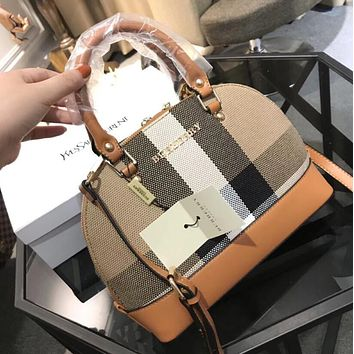 Burberry Fashion Women Leather Shell Bag Multicolor Single Shoulder Handbag Crossbody Satchel Brown I-WXZ2H