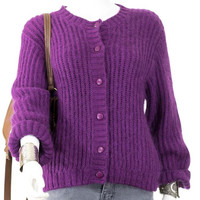 L.L. Bean Magenta Button Down Sweater Knit Long Sleeve Cardigan Size S