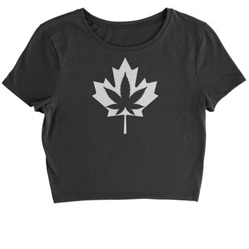 Canadian Maple Leaf with Pot Leaf Cropped T-Shirt