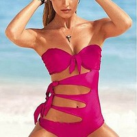 Buy discount Sexy Pink Cut-Out Twist One-Piece& Monokinis Bikini Swimsuit set at dressilyme.com