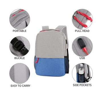 Waterproof Leisure Casual Unisex Laptop Bag USB Charging Notebook Bags Computer PC Backpack Travel Backpacks