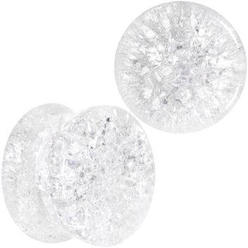 "9/16"" Clear Shattered Glass Saddle Plug Set"