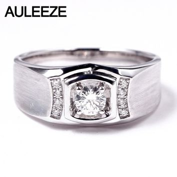 AULEEZE Luxury 0.3ct Natural Diamond 18K White Gold Engagement Ring For Men Real Diamond Wedding Bands Jewelry Christmas Gift