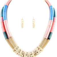 NEW Statement Necklace Bib Charm  and Gold Earrings -Fashion Made in US - Tribal