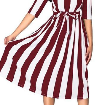 Striped Red Wine Print Midi A-Line Dress, Size Large