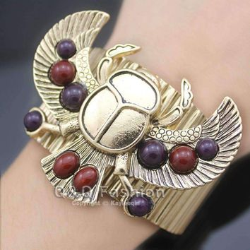 Egyptian Revival khepri Scarab Beetle Beadsa Wing Big Bracelet For Women  5.00% Off Auto renew