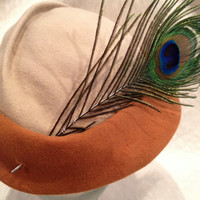 Orange and Cream Peacock Feather Asymetrical Womens Hat 40s