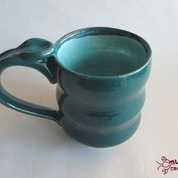 Wavy Mug - Ceramic, Teal and Seafoam
