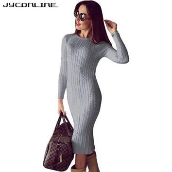JYConline Winter Bodycon Knitted Dress Women Sweater Dress Long Sleeve Midi Dress Sexy Split Vestidos Elastic Party Club Dresses