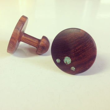 Anniversary gift for Men- Wood and Turquoise Cufflinks
