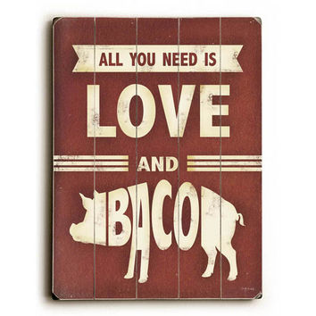 Love And Bacon by Artist Misty Diller Wood Sign