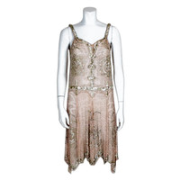 1920s Deco Beaded Pink Chiffon Cocktail Dress