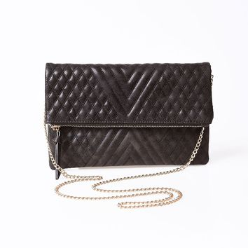 Vintage Style Black Foldover Quilted Clutch