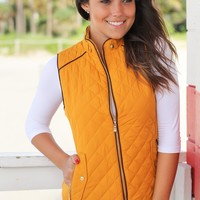 Mustard Quilted Vest With Pockets
