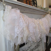 Tattered white lace garland wall hanging French farmhouse fabric banner romantic shabby cottage chic home decor anita spero design