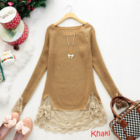 Fashion Womens Splicing Lace Hem Long Sweater Blouse Tops Knitwear New Casual