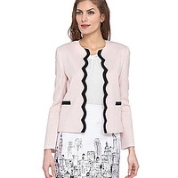 Tahari by ASL Scalloped Jacket - Pale Pink/Black