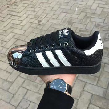 """""""Adidas"""" Unisex Sport Casual Fashion Multicolor Stripe Shell Head Plate Shoes Couple Sneakers"""