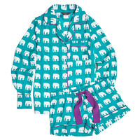 Jane Elephant Pajama Set, Turquois, Large, Pajamas