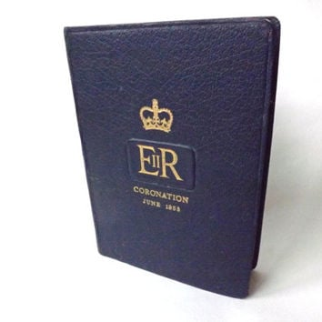 Vintage English Bible Queen Elizabeth II Coronation 1953, Royal Souvenir British Royalty, Religious Gift, Hertfordshire England