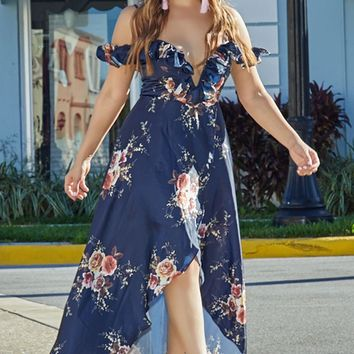 Jazmine Navy Floral Print Plunging Off Shoulder High Low Maxi Dress