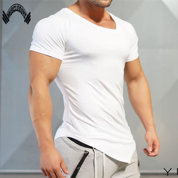 Muscleguys Mens T-Shirts Muscle Golds Brand Fitness Bodybuilding Workout Clothes Man Cotton Sporting T Shirt Men plus size top