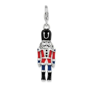 925 Sterling Silver 3-D Enameled Nut Cracker with Lobster Clasp Charm