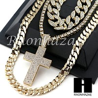 "14K GOLD PT Lil JESUS CROSS ICED OUT MIAMI CUBAN 16""~30"" CHOKER TENNIS CHAIN S19"