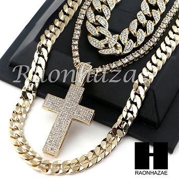 """14K GOLD PT Lil JESUS CROSS ICED OUT MIAMI CUBAN 16""""~30"""" CHOKER TENNIS CHAIN S19"""