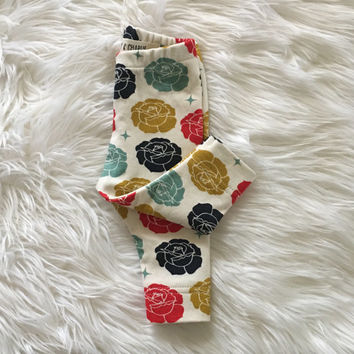 organic baby clothes, organic leggings, girl leggings, baby leggings, modern, roses, leggings, newborn, 0-3 months, 3-6 months, 6-12 months
