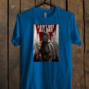 Norman Reedus Daryl Dixon The Walking Dead TV Blue Mens T Shirt **