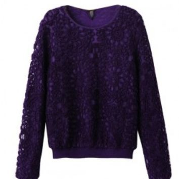 Applique Transparent Round Neckline Sweatshirt