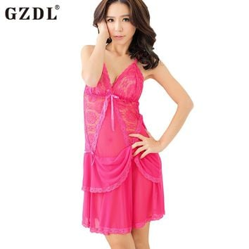 Mesh Sheer Sexy Babydoll Chemise Lingerie Nightdress and Thongs Set