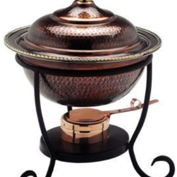 12 x 15 Round Antique Copper Chafing Dish 3 Qt