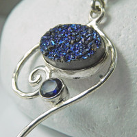 Druzy Necklace  Blue Drusy Pendant  Sapphire by FantaSeaJewelry