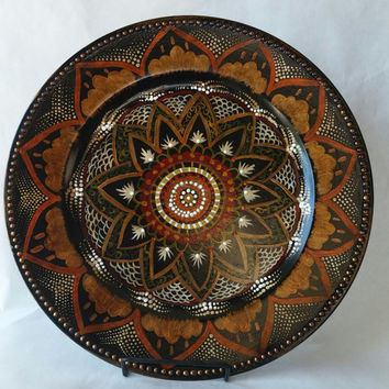 Decorative plate, hand painted plate, accent plate, plate decoration, Moroccan style plate, decorative platter, painted plate, kitchen decor