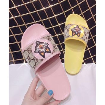 Gucci Trending Women New Retro Stylish Print Color Cat Head Comfortable Flat Sandals Slippers Shoe I-XHYMX