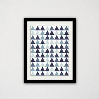 "Geometric Triangle Poster. Tribal. Blue. Purple. Gray. Minimalist. Art Print. Home Decor. Modern and Trendy. 8.5x11"" Print."