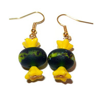 Green and Yellow Beaded Glass Candy Earrings